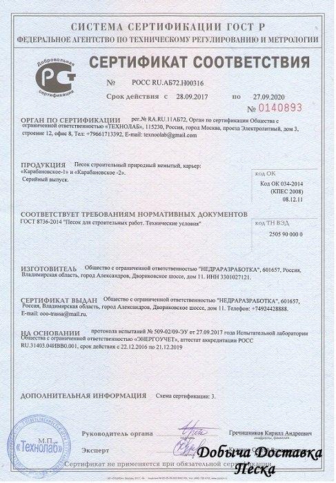 Карьер Карабановский 1 паспрт качества