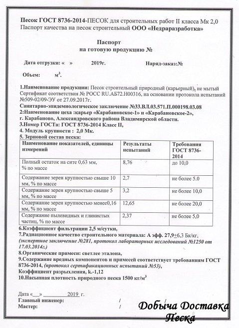 Карьер Карабановский 1 сертификат