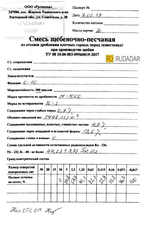 Русальк Паспорт Качества 0-10